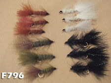 Woolly Bugger 12 Assorted Flies Black White Olive Brown Sizes 6 8 10 F796