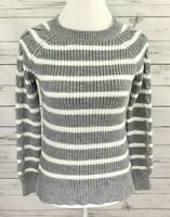 SO Sweater Womens Small S Gray White Striped Long Sleeve Knit Stretch Pullover