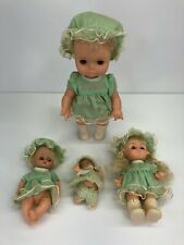Vtg Set 4 Baby Dolls Made in Hong Kong Blonde Hair With Matching Green Outfits