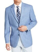 Tommy Hilfiger Mens Blazer Blue Size 44 Long Suit Separate Solid $295 #021