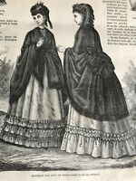 MODE ILLUSTREE SEWING PATTERN July 4,1869 - MANTELETS, JUPONS, BLOUSES