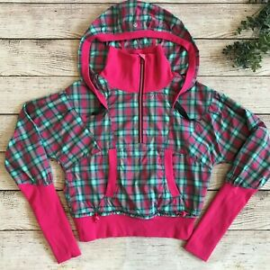 Lululemon Run Reflection Pullover 1/2 Zip Jacket Senorita Pink Plaid Hooded Sz 8