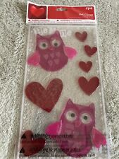 NEW Red Pink Owls Hearts Gel Window Clings