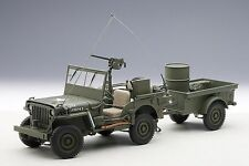 AUTOart 1:18 Jeep Willy's Army, green w/ trailer and accessories included