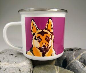 German Shepherd - single enamel mug with original illustration.