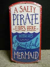 Salty Pirate Lives Here W/ His Beautiful Mermaid Metal Sign Beach Nautical Decor