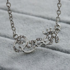 Queen Letters With Crown silver Clavicle Pendant Necklace Chain Gift rhinestone