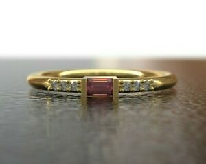 Pink Sapphire Diamond Engagement Ring 14K Gold pink sapphire Stacking ring