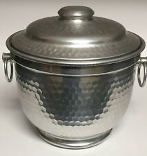 Vintage Hammered Aluminum Ice Bucket Double Walled with Lid Made in Italy 8""