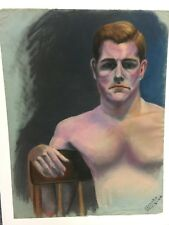 "Olinsky (Ivan?) 11-3-1944 signed pastel drawing 25"" X 20"" shirtless man on chair"