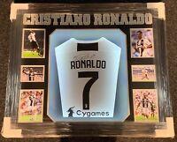 Framed Cristiano Ronaldo Signed Shirt Juventus Portugal LIGHT UP Proof COA