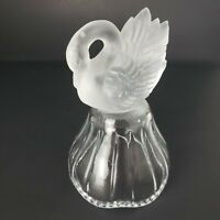 Frosted Clear Glass Swan Decorative Bell Vintage Collectible