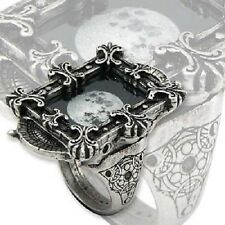 ALCHEMY MOON PHASE OPTIMISER RING R157 GOTHIC EMO GLASS TRIBAL CHUNKY 4X3CMS