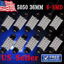10PCS Blue 36MM 5050 6SMD Festoon LED Dome Map Interior Light Bulbs DE3423 6418