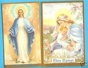 2 Vintage Catholic Blessed Mother NEALIS Holy Cards Blessed Virgin Mary