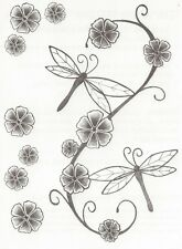 DESIGNER LARGE SHEET DRAGONFLY FLOWERS temporary Tattoo