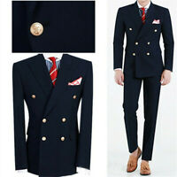 Navy Double Breasted Groom Wedding Tuxedos Slim Fit Prom Party Men's Suit Custom