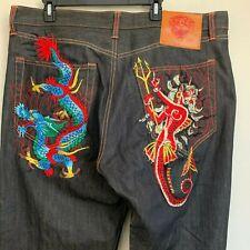 Ed Hardy Christian Audigier Black Denim Jeans Embroidered Dragon/Lady 42X34 NEW