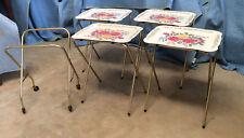 Trays TV Vintage 4 Set /Rolling Stand,Cal Dak: Floral /Flower Top, c 195s-60s