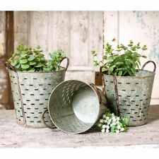 Olive Bucket Set in Distressed Tin