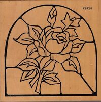 """window rose comotion  Wood Mounted Rubber Stamp 4 1/2 x 4 1/2""""  Free Shipping"""