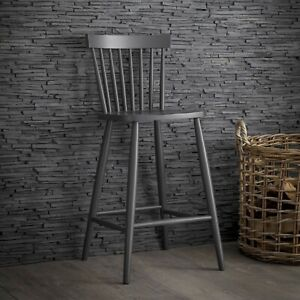 Tall Contemporary Grey Spindle Bar Wood Kitchen Dining Breakfast Bar Chair Stool