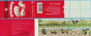 MINT 1995 NEW ZEALAND NZ FARM ANIMALS 40c  BOOKLET PANE OF 10 =  STAMP BOOKLET