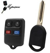NEW FORD REPLACEMENT KEYLESS ENTRY CAR REMOTE FOB & UNCUT KEY BLADE +PROGRAMMING