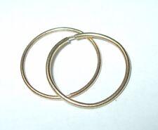 """Vintage 10K Yellow Gold Dainty Sleeper Wire Hoops Earrings .75MM x1/2""""Long 0.3GR"""