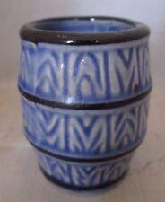 Blue Ceramic Rain Barrel Toothpick Holder Vintage