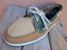 COLE HAAN Mens Casual Dress Deck Shoes Tan Green Leather Slip On Loafer Size 10M