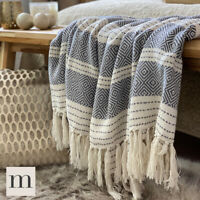 Eco Friendly Dark Grey / White Abstract Diamond Bed Sofa Throw Blanket Fringe