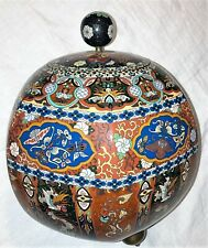 Huge Antique Monumental Japanese Cloisonne Pot / Jar with Lid Tripod feet