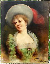 MAURY François (1861-1933) Ecole de MARSEILLE Beau Portrait de Femme sur Panneau