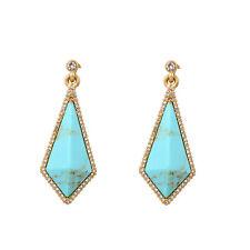 Boucles d`Oreilles CLIP ON Doré Art Deco Goutte Diementine Turquoise Mariage X18