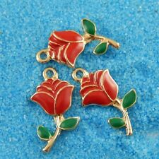 38928 20Pcs Vintage Gold Alloy Red Rose Flower Charms Pendant Findings 24*12*3mm