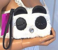 Betsey Johnson Panda Furry Face Black Wristlet Bag Purse Wallet Pouch