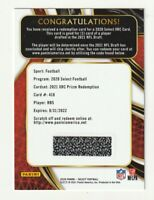 2020 Panini Select Football XRC Prizm Redemption RB5 2021 NFL Draft Silver SSP