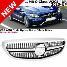 C63 AMG Style Front Grille Silver For 15-17 MB W205 C-Class Trim Luxury package
