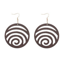 Fashion Openwork Round Wood Earrings Retro Cut Out Disc Hook Jewelry Accessories