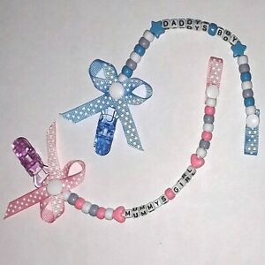Boys n Girls Personalised bow dummy clip clips chain strap pink grey blue white