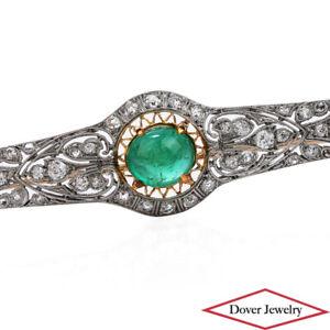 Antique Deco Diamond 4.90ct Emerald Platinum Filigree Long Bar Pin 9.9 Grams NR