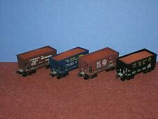 4 Ore cars-iron ore load. Roundhouse: ON, B&O, D&RGW, CTH&SE. KD Couplers C-8 sc