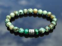 Taurus African Turquoise Tiger Eye Birthstone Bracelet 6-9'' Elasticated Healing