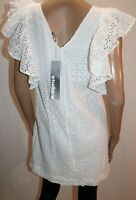 studio.w Brand White Embroidered Cotton Frill Sleeve Dress Size 10 BNWT #WH33