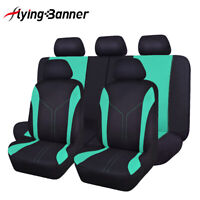 Universal Car Seat Covers Green Polyester Breathable rear Bench Split 40/60