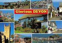 Postcard Glorious Devon Multi View, Torquay Brixham Clovelly Lynmouth Exeter 53X