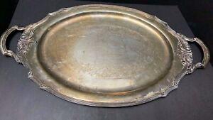 "Chatelaine Waiters Tray Oneida Community 0113-9 Silverplate 22"" Tray + Handles"