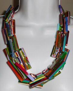 Sobral Neoconcretismo Bright Striped Pop Art Statement Necklace Brazil Import
