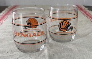 """Vintage Pair of CINCINNATI BENGALS NFL Drinking Glass/Tumblers - 3.5"""""""